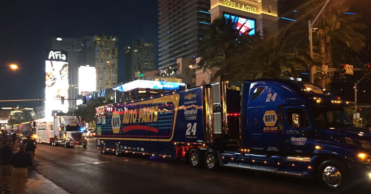 NASCAR hauler parade greeted by rowdy fans on Las Vegas ...
