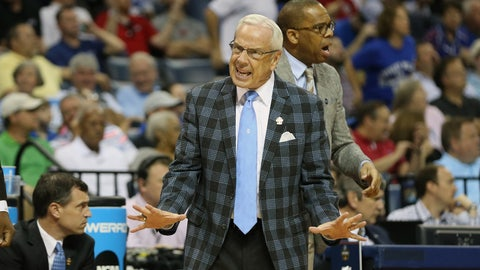 Mar 26, 2017; Memphis, TN, USA; North Carolina Tar Heels head coach Roy Williams reacts in the first half against the Kentucky Wildcats during the finals of the South Regional of the 2017 NCAA Tournament at FedExForum. Mandatory Credit: Nelson Chenault-USA TODAY Sports