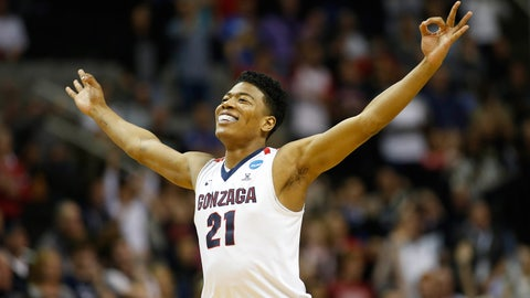Mar 25, 2017; San Jose, CA, USA; Gonzaga Bulldogs forward Rui Hachimura (21) reacts after making a three-point basket against the Xavier Musketeers during the second half in the finals of the West Regional of the 2017 NCAA Tournament at SAP Center. Mandatory Credit: Stan Szeto-USA TODAY Sports