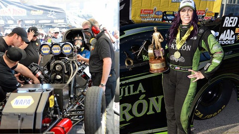 Photos: Ron Capps' NAPA AUTO PARTS crew works on his Dodge Charger R/T (Left; Photo Credit: Don Schumacher Racing); Alexis DeJoria celebrates her win at the 2016 Denso Spark Plugs NHRA Nationals (Right; Photo Credit: Gary Nastase).