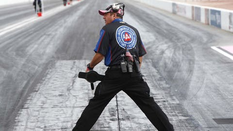 Lanny Miglizzi seen testing the track conditions prior to the NHRA Toyota Nationals on Oct. 30, 2016, at The Strip at Las Vegas Motor Speedway. (Photo by Jeff Speer/Icon Sportswire via Getty Images)