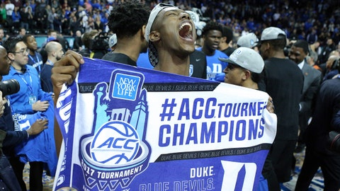 Mar 11, 2017; Brooklyn, NY, USA; Duke Blue Devils forward Harry Giles (1) celebrates with teammates after defeating the Notre Dame Fighting Irish in the ACC Conference Tournament final at Barclays Center. Mandatory Credit: Brad Penner-USA TODAY Sports