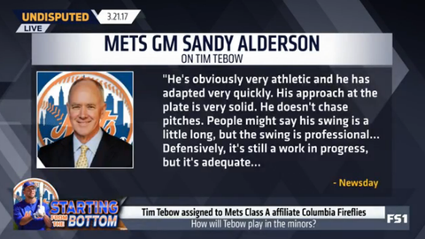 Sandy Alderson: Tebow isn't stealing a spot from a young prospect