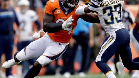 FILE - In this Oct. 30, 2016, file photo, Denver Broncos outside linebacker DeMarcus Ware (94) battles San Diego Chargers wide receiver Dexter McCluster (33) during the first half of an NFL football game, in Denver. Eight veteran players, including frequent All-Pros DeMarcus Ware, Marshal Yanda and Julius Peppers, are finalists for the Art Rooney Sportsmanship Award. Other finalists announced by the NFL on Monday, Dec. 12, 2016,  are Greg Olsen, Joe Staley, Darren Sproles, Brian Cushing and Frank Gore.(AP Photo/Jack Dempsey, File)