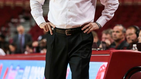 Arkansas head coach Jimmy Dykes looks on during the first half of an NCAA college basketball game  Mississippi State, Thursday, Jan. 5, 2017, in Fayetteville, Ark. (AP Photo/Chris Brashers)