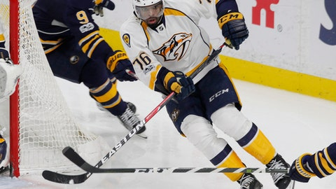 Nashville Predators defenseman P.K. Subban (76) moves the puck up ice during the third period of an NHL hockey game against the Buffalo Sabres, Tuesday, Feb. 28, 2017, in Buffalo, N.Y. (AP Photo/Jeffrey T. Barnes)