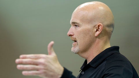 Atlanta Falcons head coach Dan Quinn speaks during a press conference at the NFL Combine in Indianapolis, Wednesday, March 1, 2017. (AP Photo/Michael Conroy)