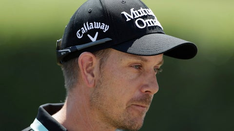 Henrik Stenson, of Sweden, leaves following a press conference at Chapultepec Golf Club a day before the start of the Mexico Championship in Mexico City, Wednesday, March 1, 2017. All but one of the world's top 50 golfers will contest the World Golf Championship PGA event, which this year relocated to Mexico City from the Trump National Doral Resort in Florida. (AP Photo/Rebecca Blackwell)