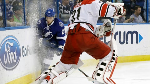 Tampa Bay Lightning center Brayden Point (21) crashes into the boards trying to avoid hitting Carolina Hurricanes goalie Eddie Lack (31) during the second period of an NHL hockey game Wednesday, March 1, 2017, in Tampa, Fla. (AP Photo/Chris O'Meara)