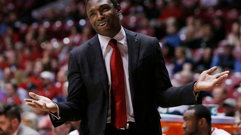 Alabama head coach Avery Johnson holds out his hands as he questions a referee during an NCAA college basketball game against Mississippi, Wednesday, March 1, 2017 at Coleman Coliseum in Tuscaloosa, Ala. (Erin Nelson/The Tuscaloosa News via AP)