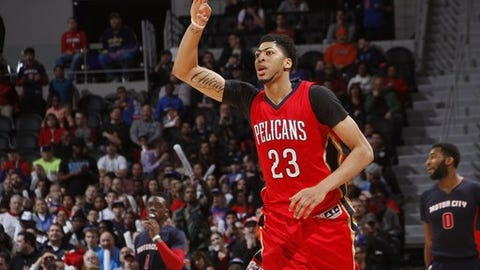 AUBURN HILLS, MI - FEBRUARY 21:  Anthony Davis #23 of the New Orleans Pelicans celebrates a three point basket against the Detroit Pistons on February 21, 2016 at The Palace of Auburn Hills in Auburn Hills, Michigan. NOTE TO USER: User expressly acknowledges and agrees that, by downloading and/or using this photograph, User is consenting to the terms and conditions of the Getty Images License Agreement.  Mandatory Copyright Notice: Copyright 2016 NBAE (Photo by B.Sevald/Einstein/NBAE via Getty Images)