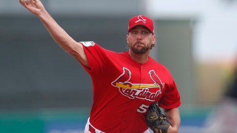 St. Louis Cardinals starting pitcher Adam Wainwright (50) works in the second inning of a spring training baseball game against the Atlanta Braves, Thursday, March 2, 2017, in Jupiter, Fla. (AP Photo/John Bazemore)