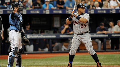 Tampa Bay Rays catcher Curt Casali, left, calls for an intentional walk on Detroit Tigers' Miguel Cabrera during the eighth inning of a baseball game Sunday, July 3, 2016, in St. Petersburg, Fla. (AP Photo/Steve Nesius)