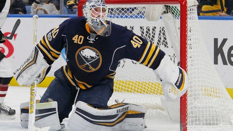 Buffalo Sabres goalie Robin Lehner (40) defends the net during the second period of an NHL hockey game against the Arizona Coyotes, Thursday, March. 2, 2017, in Buffalo, N.Y. (AP Photo/Jeffrey T. Barnes)