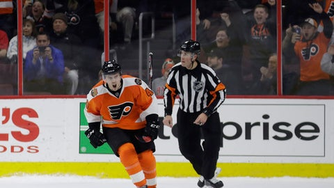 Philadelphia Flyers' Jordan Weal (40) reacts after scoring a goal against Florida Panthers' James Reimer during the shootout in an NHL hockey game, Thursday, March 2, 2017, in Philadelphia. Philadelphia won 2-1. (AP Photo/Matt Slocum)