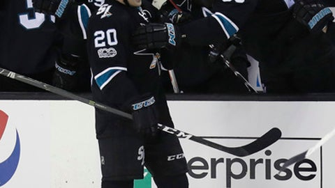 San Jose Sharks' Marcus Sorensen celebrates his goal with teammate Brent Burns (88) during the second period of an NHL hockey game against the Vancouver Canucks on Thursday, March 2, 2017, in San Jose, Calif. (AP Photo/Marcio Jose Sanchez)