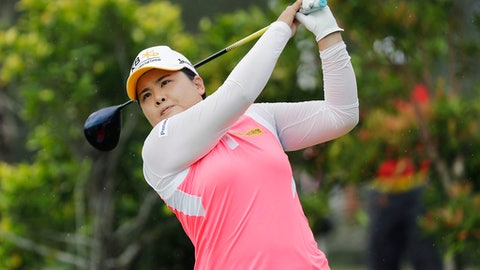 Inbee Park of South Korea tees off on the 3rd hole during the HSBC Women's Champions golf tournament held at Sentosa Golf Club's Tanjong course on Friday, March 3, 2017, in Singapore. (AP Photo/Wong Maye-E)