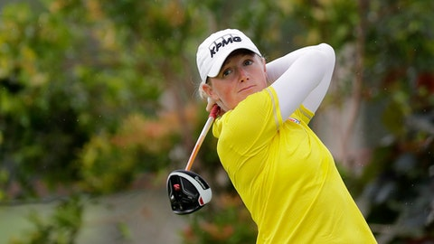 Stacy Lewis of the United States tees off on the 3rd hole during the HSBC Women's Champions golf tournament held at Sentosa Golf Club's Tanjong course on Friday, March 3, 2017, in Singapore. (AP Photo/Wong Maye-E)