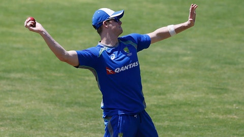 Australia's captain Steve Smith attends a training session ahead of their second cricket test match against India in Bangalore, India, Friday, March 3, 2017. (AP Photo/Aijaz Rahi)