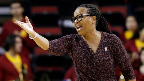FILE - In this Thursday, March 2, 2017, file photo, Southern California head coach Cynthia Cooper-Dyke directs her team against California in an NCAA college basketball game in the Pac-12 Conference tournament  in Seattle. Cooper-Dyke resigned on Friday, March 3, 2017, after four years coaching basketball at her alma mater USC. (AP Photo/Elaine Thompson, File)