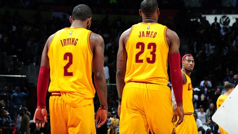 ATLANTA, GA - MARCH 3: Kyrie Irving #2 and LeBron James #23 of the Cleveland Cavaliers looks on during the game against the Atlanta Hawks on March 3, 2017 at Philips Arena in Atlanta, Georgia.  NOTE TO USER: User expressly acknowledges and agrees that, by downloading and/or using this Photograph, user is consenting to the terms and conditions of the Getty Images License Agreement. Mandatory Copyright Notice: Copyright 2017 NBAE (Photo by Scott Cunningham/NBAE via Getty Images)