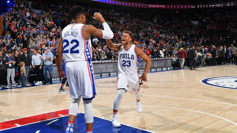 PHILADELPHIA,PA - MARCH 3 : Justin Anderson #23 of the Philadelphia 76ers is pumped up after the big game and big win against the New York Knicks at Wells Fargo Center on March 3, 2017 in Philadelphia, Pennsylvania NOTE TO USER: User expressly acknowledges and agrees that, by downloading and/or using this Photograph, user is consenting to the terms and conditions of the Getty Images License Agreement. Mandatory Copyright Notice: Copyright 2017 NBAE (Photo by Jesse D. Garrabrant/NBAE via Getty Images)