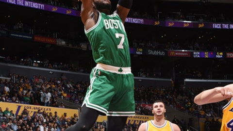 LOS ANGELES, CA - MARCH 3:  Jaylen Brown #7 of the Boston Celtics goes up for a dunk during a game against the Los Angeles Lakers on March 3, 2017 at STAPLES Center in Los Angeles, California. NOTE TO USER: User expressly acknowledges and agrees that, by downloading and/or using this photograph, user is consenting to the terms and conditions of the Getty Images License Agreement. Mandatory Copyright Notice: Copyright 2017 NBAE (Photo by Andrew D. Bernstein/NBAE via Getty Images)