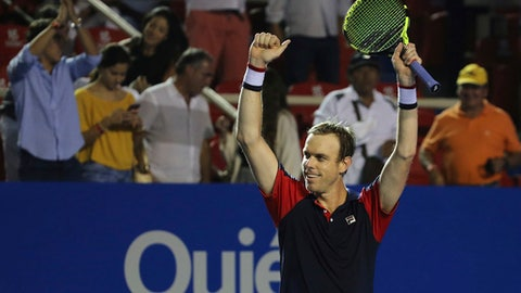 United States' Sam Querrey greets the crowd after his semifinal match against Australia's Nick Kyrgios at the Mexican Tennis Open in Acapulco, Mexico, Friday March 3, 2017. Querry beat Kyrgios 3-6, 6-1, 7-5 to advance to the final where he will play Rafael Nadal.(AP Photo/Enric Marti)