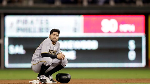 FILE - In this Sept. 12, 2016, file photo, Pittsburgh Pirates' Francisco Cervelli crouches at second base during a baseball game against the Philadelphia Phillies Philadelphia. Maybe the best thing about Francisco Cervelli's 2016 is that it ended. Cervelli is hoping his injury plagued season is firmly behind him as he tries to nurture a pitching staff that's short on experience. (AP Photo/Matt Slocum, File)