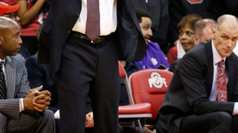 Ohio State had coach Thad Matta reacts to a call during the second half of an NCAA college basketball game against Indiana, Saturday, March 4, 2017, in Columbus, Ohio. Indiana beat Ohio State 96-92. (AP Photo/Jay LaPrete)