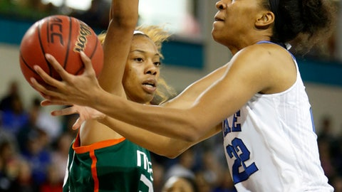 Duke's Oderah Chidom, right, drives to the basket as Miami's Erykah defends during the first half of an NCAA college basketball game in the Atlantic Coast Conference tournament at the HTC Center in Conway, S.C., Saturday, March 4, 2017. (AP Photo/Mic Smith)