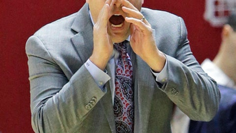 Stanford head coach Jerod Haase shouts to his team during the second half in an NCAA college basketball game against Utah Saturday, March 4, 2017, in Salt Lake City. Utah won 67-59. (AP Photo/Rick Bowmer)