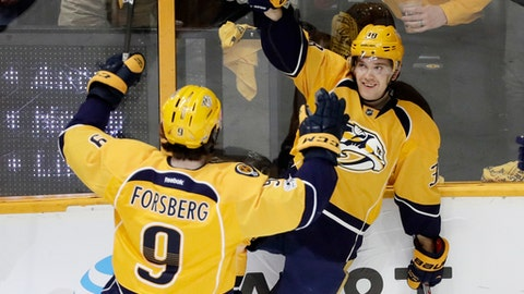 Nashville Predators left wing Viktor Arvidsson, right, of Sweden, celebrates with Filip Forsberg (9), also of Sweden, after Arvidsson scored his second goal of the game against the Chicago Blackhawks during the third period of an NHL hockey game Saturday, March 4, 2017, in Nashville, Tenn. (AP Photo/Mark Humphrey)