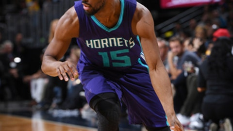 DENVER, CO - MARCH 4: Kemba Walker #15 of the Charlotte Hornets handles the ball against the Denver Nuggets during the game on March 4, 2017 at the Pepsi Center in Denver, Colorado. NOTE TO USER: User expressly acknowledges and agrees that, by downloading and/or using this Photograph, user is consenting to the terms and conditions of the Getty Images License Agreement. Mandatory Copyright Notice: Copyright 2017 NBAE (Photo by Garrett Ellwood/NBAE via Getty Images)