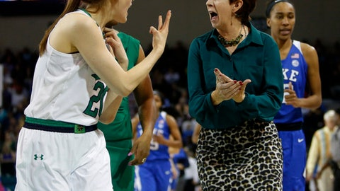Notre Dame head coach Muffet McGraw, right, talks with player Ali Patberg, left, as they leave the court at the end of the first half against Duke in an NCAA college championship basketball game in the Atlantic Coast Conference tournament in Conway, S.C., Sunday, March 5, 2017. (AP Photo/Mic Smith)