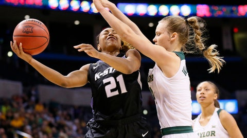 Kansas State guard Karyla Middlebrook (21) shoots as Baylor guard Kristy Wallace, right, defends, in the first half of an NCAA college basketball game at the Big 12 Conference tournament in Oklahoma City, Sunday, March 5, 2017. (AP Photo/Sue Ogrocki)
