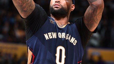 LOS ANGELES, CA - MARCH 5: DeMarcus Cousins #0 of the New Orleans Pelicans shoots a free throw during the game against the Los Angeles Lakers on March 5, 2017 at STAPLES Center in Los Angeles, California. NOTE TO USER: User expressly acknowledges and agrees that, by downloading and/or using this Photograph, user is consenting to the terms and conditions of the Getty Images License Agreement. Mandatory Copyright Notice: Copyright 2017 NBAE (Photo by Andrew D. Bernstein/NBAE via Getty Images)