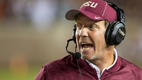 FILE - In this Oct. 29, 2016, file photo, Florida State coach Jimbo Fisher shouts instructions during the team's NCAA college football game against Clemson in Tallahassee, Fla. For the third straight year, the battle to fill one of Florida State's major offensive positions will once begin be the Seminole's main focus during spring practices. With Dalvin Cook leaving early for the NFL draft, coach Jimbo Fisher and his staff began spring practices on Monday, March 6, 2017 seeing who can replace the school's career rushing leader. (AP Photo/Mark Wallheiser, File)