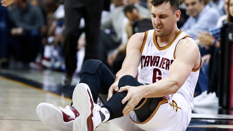 CLEVELAND, OH - MARCH 06: Andrew Bogut #6 of the Cleveland Cavaliers reacts after getting hurt in the first half while playing the Miami Heat at Quicken Loans Arena on March 6, 2017 in Cleveland, Ohio. NOTE TO USER: User expressly acknowledges and agrees that, by downloading and or using this photograph, User is consenting to the terms and conditions of the Getty Images License Agreement.  (Photo by Gregory Shamus/Getty Images)