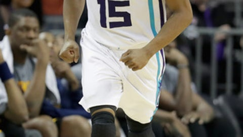 CHARLOTTE, NC - MARCH 06:  Kemba Walker #15 of the Charlotte Hornets reacts after a play against the Indiana Pacers during their game at Spectrum Center on March 6, 2017 in Charlotte, North Carolina.  NOTE TO USER: User expressly acknowledges and agrees that, by downloading and or using this photograph, User is consenting to the terms and conditions of the Getty Images License Agreement.  (Photo by Streeter Lecka/Getty Images)
