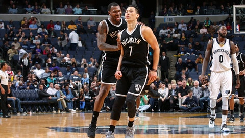 MEMPHIS, TN - MARCH 6: Jeremy Lin #7 and Sean Kilpatrick #6 of the Brooklyn Nets react during the game against the Memphis Grizzlies on March 6, 2017 at FedExForum in Memphis, Tennessee. NOTE TO USER: User expressly acknowledges and agrees that, by downloading and or using this photograph, User is consenting to the terms and conditions of the Getty Images License Agreement. Mandatory Copyright Notice: Copyright 2017 NBAE (Photo by Joe Murphy/NBAE via Getty Images)