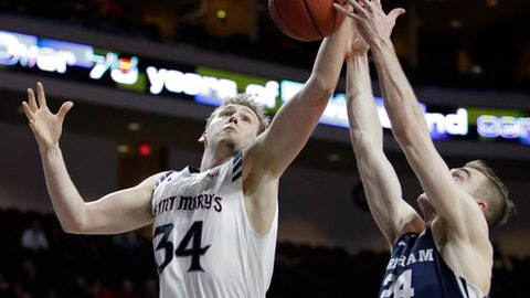 BYU's Davin Guinn, right, fouls Saint Mary's Jock Landale during the second half of a West Coast Conference tournament NCAA college basketball game Monday, March 6, 2017, in Las Vegas. Saint Mary's won 81-50. (AP Photo/John Locher)