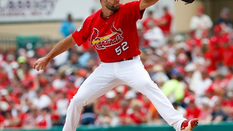St. Louis Cardinals starting pitcher Michael Wacha (52) throws in the first inning of a spring training baseball game against the Washington Nationals Wednesday, March 8, 2017, in Jupiter, Fla. (AP Photo/John Bazemore)