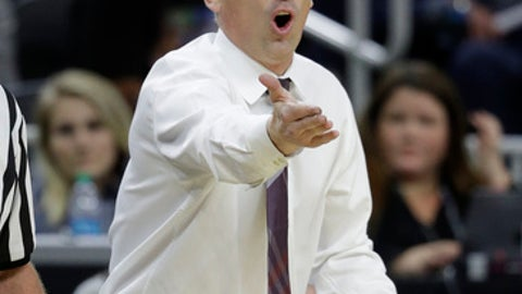 Arizona State head coach Bobby Hurley reacts after a play against Stanford during the second half of an NCAA college basketball game in the first round of the Pac-12 men's tournament, Wednesday, March 8, 2017, in Las Vegas. Arizona State won 98-88. (AP Photo/John Locher)