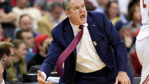 Rutgers head coach Steve Pikiell reacts during the first half of an NCAA college basketball game in the Big Ten tournament, Wednesday, March 8, 2017, in Washington. (AP Photo/Nick Wass)