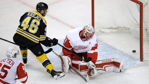 Boston Bruins center David Krejci (46) pokes the puck past Detroit Red Wings goalie Jared Coreau (31) for a goal during the first period of an NHL hockey game in Boston, Wednesday, March 8, 2017. (AP Photo/Charles Krupa)