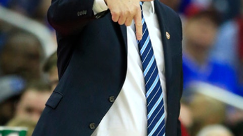 Kansas head coach Bill Self calls a play during first half of an NCAA college basketball game against TCU in the quarterfinal round of the Big 12 tournament in Kansas City, Mo., Thursday, March 9, 2017. (AP Photo/Orlin Wagner)