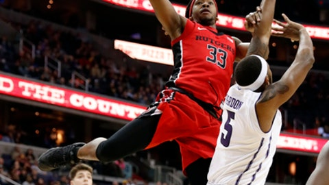 Rutgers forward Deshawn Freeman (33) shoots over Northwestern center Dererk Pardon (5) during the first half of an NCAA college basketball game in the Big Ten tournament, Thursday, March 9, 2017, in Washington. (AP Photo/Alex Brandon)