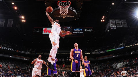 PHOENIX, AZ - MARCH 9:  T.J. Warren #12 of the Phoenix Suns goes up for a dunk during a game against the Los Angeles Lakers on March 9, 2017 at Talking Stick Resort Arena in Phoenix, Arizona. NOTE TO USER: User expressly acknowledges and agrees that, by downloading and/or using this photograph, user is consenting to the terms and conditions of the Getty Images License Agreement. Mandatory Copyright Notice: Copyright 2017 NBAE (Photo by Barry Gossage/NBAE via Getty Images)