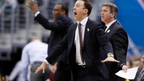 Minnesota head coach Richard Pitino reacts to an official's call during the first half of an NCAA college basketball game against Michigan State in the Big Ten tournament, Friday, March 10, 2017, in Washington. (AP Photo/Alex Brandon)